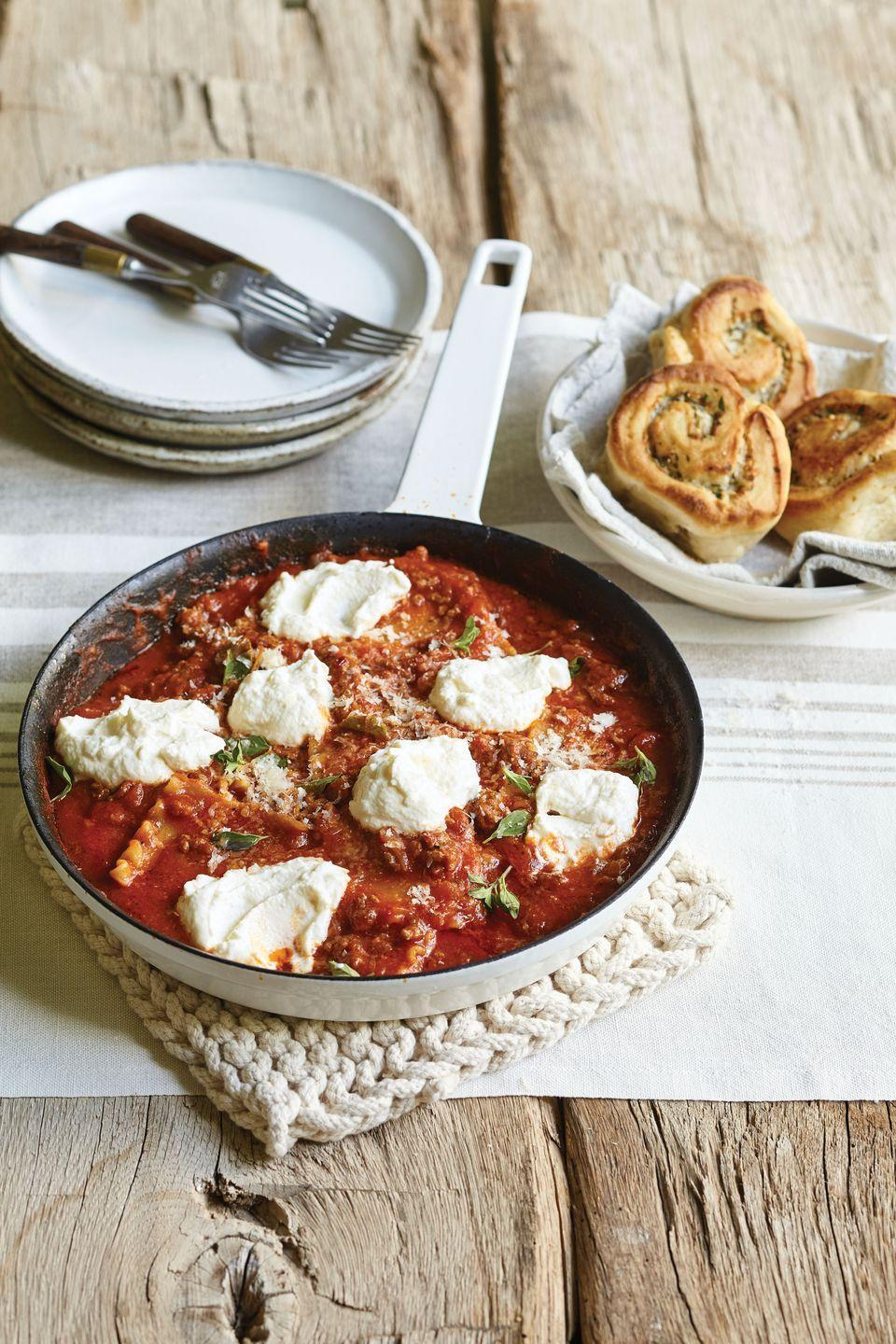 """<p>This skillet lasagna is ready in thirty minutes — no kidding!</p><p>Get the recipe from <a href=""""/cooking/recipe-ideas/recipes/a53188/easy-skillet-lasagna-recipe/"""" data-ylk=""""slk:Delish"""" class=""""link rapid-noclick-resp"""">Delish</a>.</p>"""