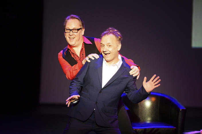 "EASTBOURNE, ENGLAND - JANUARY 29:  Bob Mortimer (R) and Vic Reeves performing their new live stage show ""25 Years of Reeves & Mortimer - The Poignant Moments,"" the UK tour continues until 16 February, at Congress Theatre on January 29, 2016 in Eastbourne, England.  (Photo by Dave J Hogan/Dave J Hogan/Getty Images)"