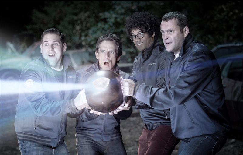 """In this image released by 20th Century Fox, from left, Jonah Hill, Ben Stiller, Richard Ayoade and Vince Vaughn are shown in a scene from """"The Watch.""""  Fox says the name of the film starring Ben Stiller and Vince Vaughn as suburban neighborhood watch volunteers who battle aliens was changed from """"Neighborhood Watch"""" to just """"The Watch,"""" in light of the shooting of an unarmed black teenager in Florida.  (AP Photo/20th Century Fox, Melinda Sue Gordon)"""