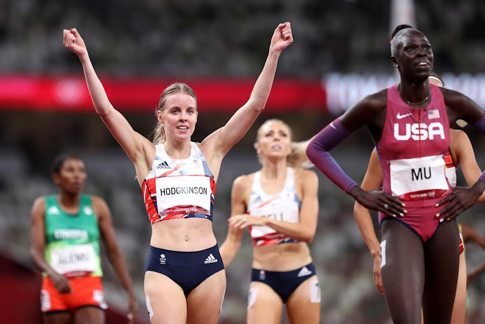 Keely Hodgkinson of Team Great Britain celebrates as she wins the silver medal (Getty)