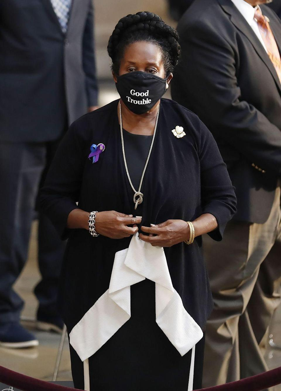 <p>Democratic Representative from Texas Sheila Jackson Lee stands during a ceremony preceding the lying in state of US Representative from Georgia John Lewis in the Rotunda of the US Capitol in Washington, DC, on July 27, 2020.</p>