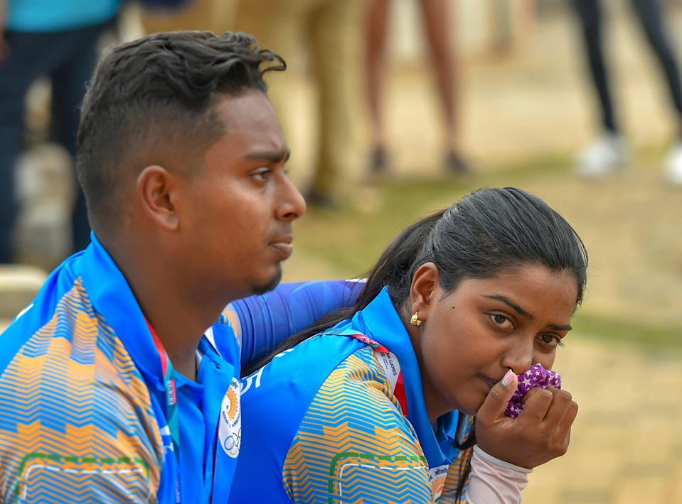 Indian archers Deepika Kumari and Atanu Das look dejected after recurve in mix team elimination event at the Asian Games 2018, in Jakarta on 24 August 2018.
