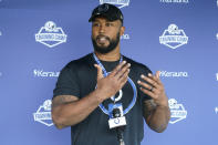 Indianapolis Colts defensive tackle DeForest Buckner speaks to the media as the players reported to the NFL team's football training camp in Westfield, Ind., Tuesday, July 27, 2021. Practice open on Wednesday. (AP Photo/Michael Conroy)