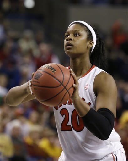 Georgia's Shacobia Barbee lines up a free throw against Iowa States in the second half of a second-round game in the women's NCAA college basketball tournament in Spokane, Wash., Monday, March 25, 2013. Barbee led Georgia with 20 points. Georgia won 65-60. (AP Photo/Elaine Thompson)