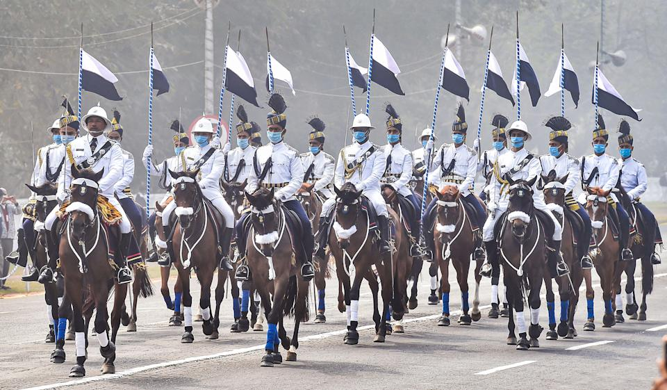 Kolkata: A contingent of horse-mounted Kolkata Police marches during the 72nd Republic Day celebrations at Red Road in Kolkata, Tuesday, Jan 26, 2021.
