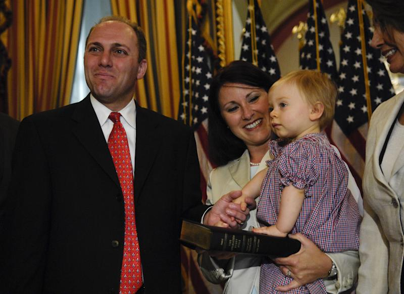 Rep. Steve Scalise is seen with his wife, Jennifer, and their then 13-month-old daughter, Madison, during a mock swearing-in ceremony in 2008. (Scott J. Ferrell via Getty Images)