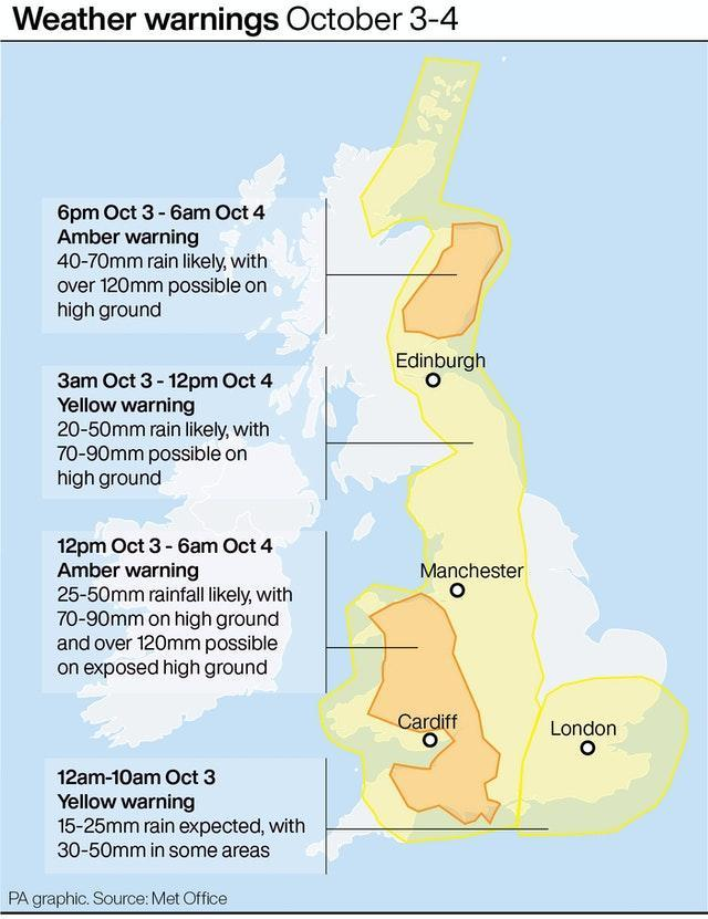 Weather warnings October 3-4