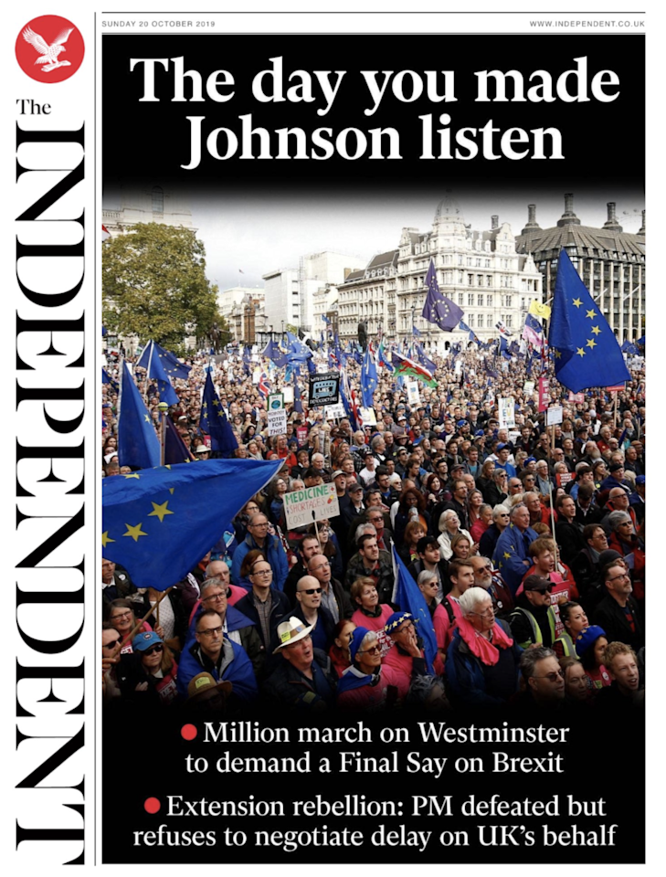 The Independent's digital edition has an almost celebratory air showing demonstrators outside Westminster under the headline 'The day you made Johnson listen'.