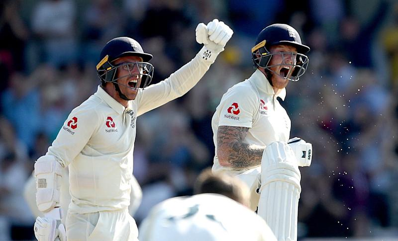 England's Ben Stokes celebrates victory with Jack Leach (left) during day four of the third Ashes test match at Headingley, Leeds. (Photo: Getty Editorial)