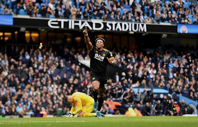 Adama Traoré scored twice to lead Wolves past Manchester City in a stunner at the Etihad. (Getty)