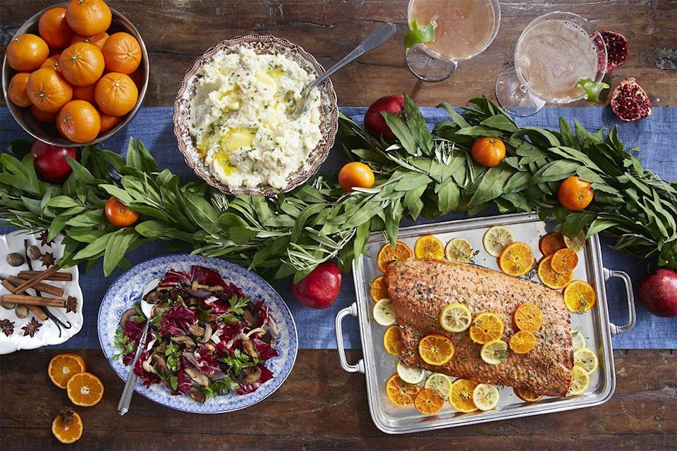 "<p>Whether you're hoping to gather with a bevy of friends for a traditional <a href=""https://www.countryliving.com/entertaining/g1081/new-years-theme-party/"" rel=""nofollow noopener"" target=""_blank"" data-ylk=""slk:New Year's Eve party"" class=""link rapid-noclick-resp"">New Year's Eve party</a>, or are planning a more intimate evening, ringing in 2021 with just a few close family members, you'll want to mark the final day of this tumultuous year with a good meal. And that mean some delicious mains, some tasty side dishes, a few appetizers and snacks, and of course a cocktail or two, both to send off the old year and to toast to whatever 2021 has to bring. To help you decide what to make, we've put together this list of five dozen of our favorite dishes, all of which are both elegant and easy to make, so you can feel comfortable making these for a crow, or even for just yourself and a friend.</p><p>Our spread of New Year's Eve food includes the best <a href=""https://www.countryliving.com/food-drinks/g2880/new-years-eve-appetizers/"" rel=""nofollow noopener"" target=""_blank"" data-ylk=""slk:New Year's Eve appetizers"" class=""link rapid-noclick-resp"">New Year's Eve appetizers</a> that will kick the night off right, like colorful cheese balls and bruschetta. Delicious main courses will steal the show, such as citrus roasted salmon or pork chops with bourbon-molasses glaze, with sides of mashed potatoes, roasted squash, or grilled artichokes. Wow your guests with our holiday desserts and make sure everyone has a bubbly <a href=""https://www.countryliving.com/food-drinks/g2872/new-years-party-champagne-cocktails/"" rel=""nofollow noopener"" target=""_blank"" data-ylk=""slk:New Year's cocktail"" class=""link rapid-noclick-resp"">New Year's cocktail</a> in hand to make a toast.</p><p>Set the tone for your New Year's Eve dinner even further by making a playlist with some of the best New Year's Eve songs or playing a game. The only thing left to do will be to count down to 2020 by watching the <a href=""https://www.countryliving.com/life/entertainment/a25693271/new-years-eve-ball-drop/"" rel=""nofollow noopener"" target=""_blank"" data-ylk=""slk:New Year's Eve ball drop"" class=""link rapid-noclick-resp"">New Year's Eve ball drop</a>—maybe with a second piece of pie.<br></p>"