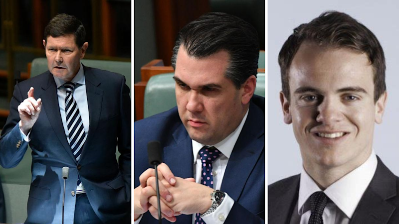 Left to right: Kevin Andrews, Michael Sukkar and Marcus Bastiaan. (Source: Getty, PeopleMaven)