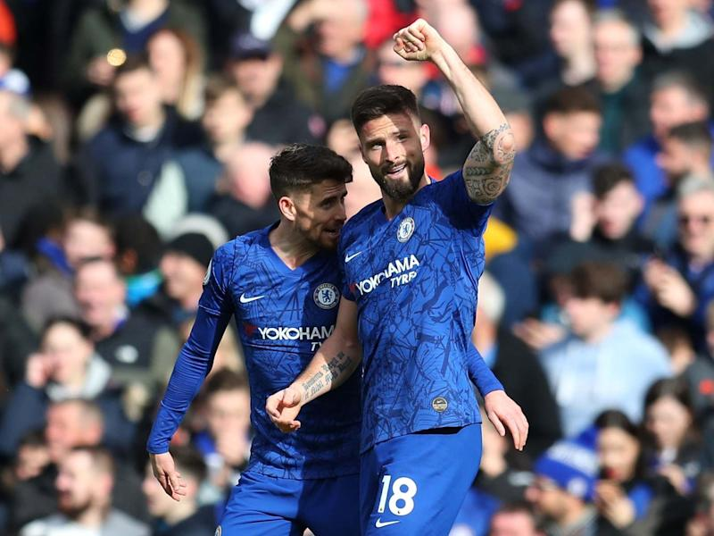 Olivier Giroud of Chelsea celebrates: Getty Images