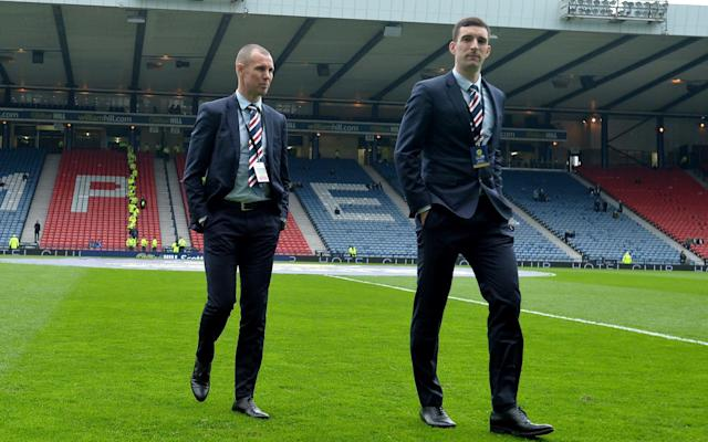 """Rangers have suspended club captain Lee Wallace and experienced striker Kenny Miller amid the fall-out of their 4-0 defeat by Celtic. The pair were called to a disciplinary meeting at Ibrox on Tuesday morning amid claims they undermined manager Graeme Murty during a heated post-match analysis of Sunday's William Hill Scottish Cup semi-final. A statement on the club's official Twitter account read: """"Rangers can confirm two players, Lee Wallace and Kenny Miller, have this morning been suspended pending investigation into a team related incident. """"The club will make no further comment until this investigation has been completed."""" Neither player featured in the game. Miller, 38, is in the final weeks of his contract and was an unused substitute while club captain Wallace was not in the squad. Rangers can confirm two players, Lee Wallace and Kenny Miller, have this morning been suspended pending investigation into a team related incident. The club will make no further comment until this investigation has been completed.— Rangers Football Club (@RangersFC) April 17, 2018 The left-back, who has a year left on his deal, has not played since September but has been closing in on a comeback following groin surgery. There were more signs of internal strife at Hampden with both Andy Halliday and Daniel Candeias reacting angrily after being substituted, before Alfredo Morelos and Greg Docherty were seen shouting at each other as they left the pitch. Murty only has a deal as Rangers boss until the summer and was given little reassurance he would be kept on in a statement to fans by chairman Dave King last week."""