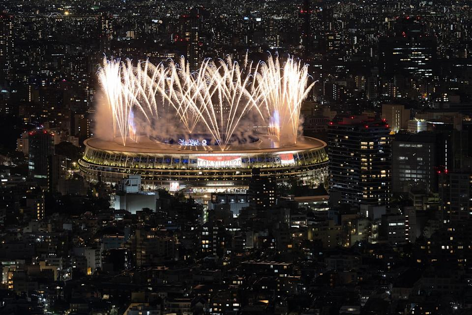 Fireworks are displayed during the opening ceremony.