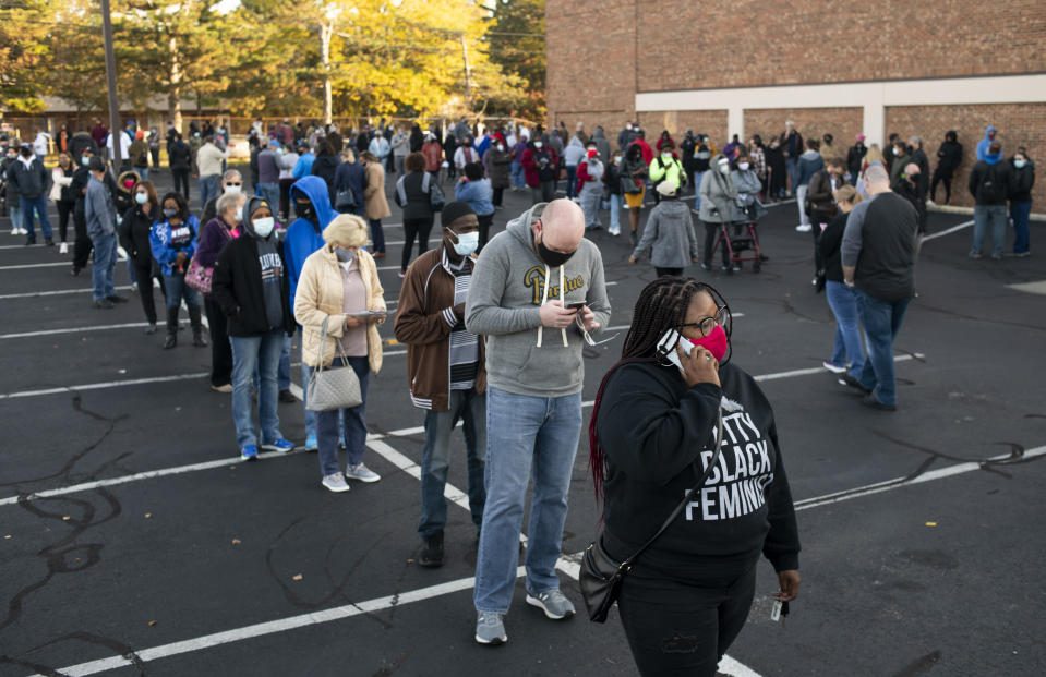 Pictured are voters in a line on October 6, Ohio allows early voting 28 days before the election which occurs on November 3rd of this year.