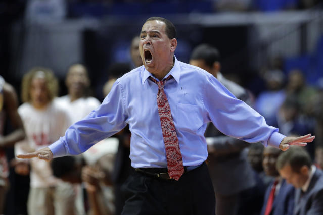 Houston head coach Kelvin Sampson reacts to a foul call during the first half of a second round men's college basketball game against Ohio State in the NCAA Tournament Sunday, March 24, 2019, in Tulsa, Okla. (AP Photo/Charlie Riedel)