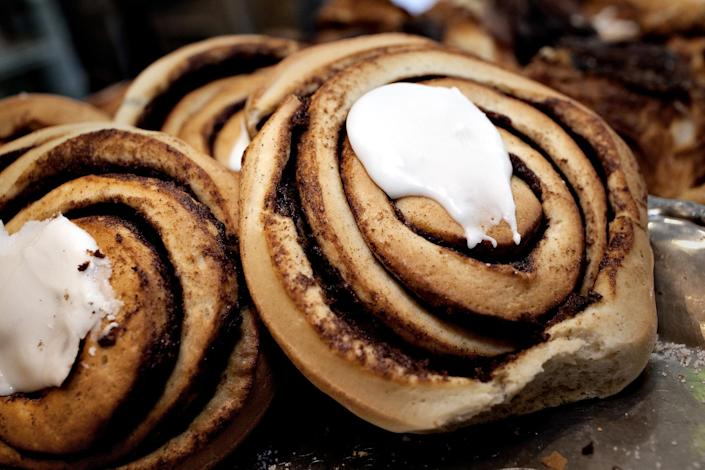 FILE – In this Aug. 4, 2010 file photo, cinnamon rolls are displayed at a bakery in Copenhagen, Denmark. The Danish Veterinary and Food Administration recently found that Danish bakers use more cinnamon in their pastry than the recommended limits set by the EU. (AP Photo/POLFOTO, Per Folkver, File) DENMARK OUT