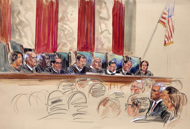 This artist rendering shows Chief Justice John Roberts, center, speaking at the Supreme Court in Washington, Thursday, June 28, 2012. From left are, Justices Sonia Sotomayor, Stephen Breyer, Clarence Thomas, Antonin Scalia, Roberts, Anthony Kennedy, Ruth Bader Ginsburg, and Elena Kagan. (AP Photo/Dana Verkouteren)