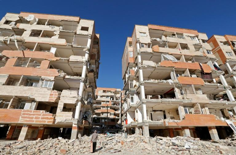 Buildings stand disfigured in the town of Sar-e Pol-e Zahab in Iran's western province of Kermanshah after a 7.3-magnitude earthquake