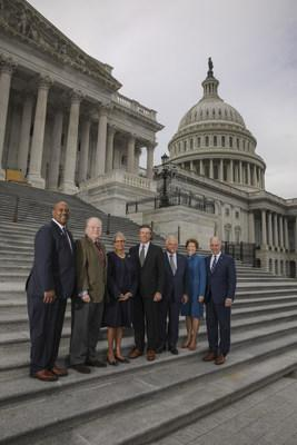[L to R] Rep. Dwight Evans (D-PA); Rep. George Holding (R-NC); Rep. Bonnie Watson Coleman (D-NJ); Dan DiLella, Chairman of the U.S. Semiquincentennial Commision; Frank Giordano, Executive Director of the U.S. Semiquincentennial Commission; Senator Jeanne Shaheen (D-NH); Senator Bob Casey (D-PA).