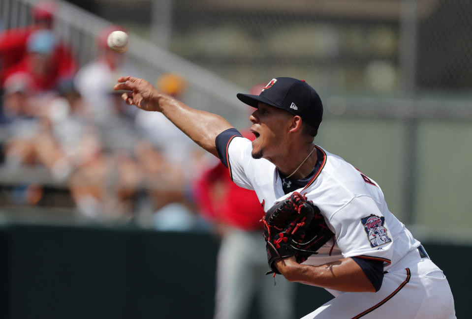 Minnesota Twins starting pitcher Jose Berrios (17) throws in the first inning of their spring season baseball game against the Philadelphia Phillies in Fort Myers, Fla., Sunday, March 3, 2019. (AP Photo/Gerald Herbert)