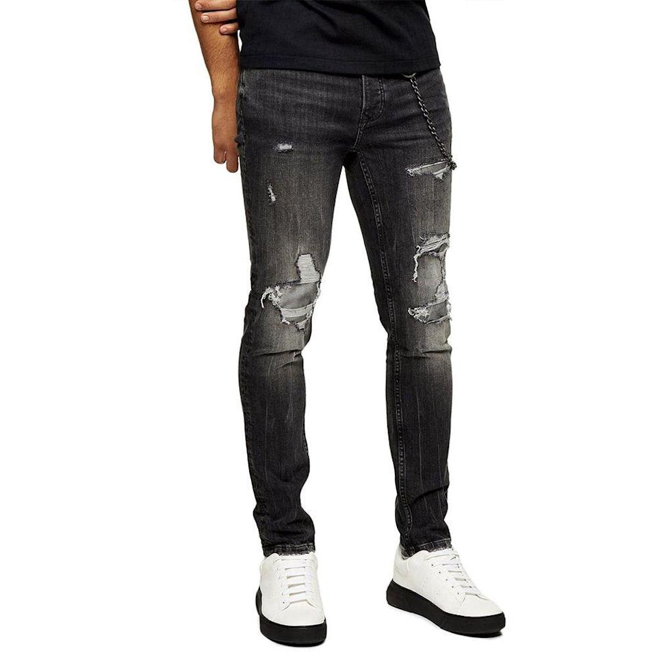 """<p><strong>TOPMAN</strong></p><p>nordstrom.com</p><p><strong>$39.90</strong></p><p><a href=""""https://go.redirectingat.com?id=74968X1596630&url=https%3A%2F%2Fwww.nordstrom.com%2Fs%2Ftopman-ripped-super-skinny-jeans-washed-black%2F5663619&sref=https%3A%2F%2Fwww.menshealth.com%2Fstyle%2Fg33510339%2Fnordstrom-anniversary-sale-2020%2F"""" rel=""""nofollow noopener"""" target=""""_blank"""" data-ylk=""""slk:Shop Now"""" class=""""link rapid-noclick-resp"""">Shop Now</a></p><p><strong><del>$70</del> $39.90 (43% off)</strong></p><p>Want to give your wardrobe a cool, grunge-inspired edge? Feast your eyes on these Topman jeans, which you can buy for less than $40. <em>Cha-ching!</em></p>"""