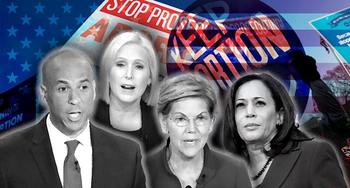 Cory Booker, Kirsten Gillibrand, Elizabeth Warren and Kamala Harris. (Photo illustration: Yahoo News; photos: AP(3), Elijah Nouvelage/Reuters, Jose Luis Magana/AP, Patsy Lynch/MediaPunch/AP, AP)