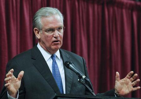 Missouri Governor Nixon participates in debate with Spence at Holiday Inn Executive Center in Columbia, Missouri