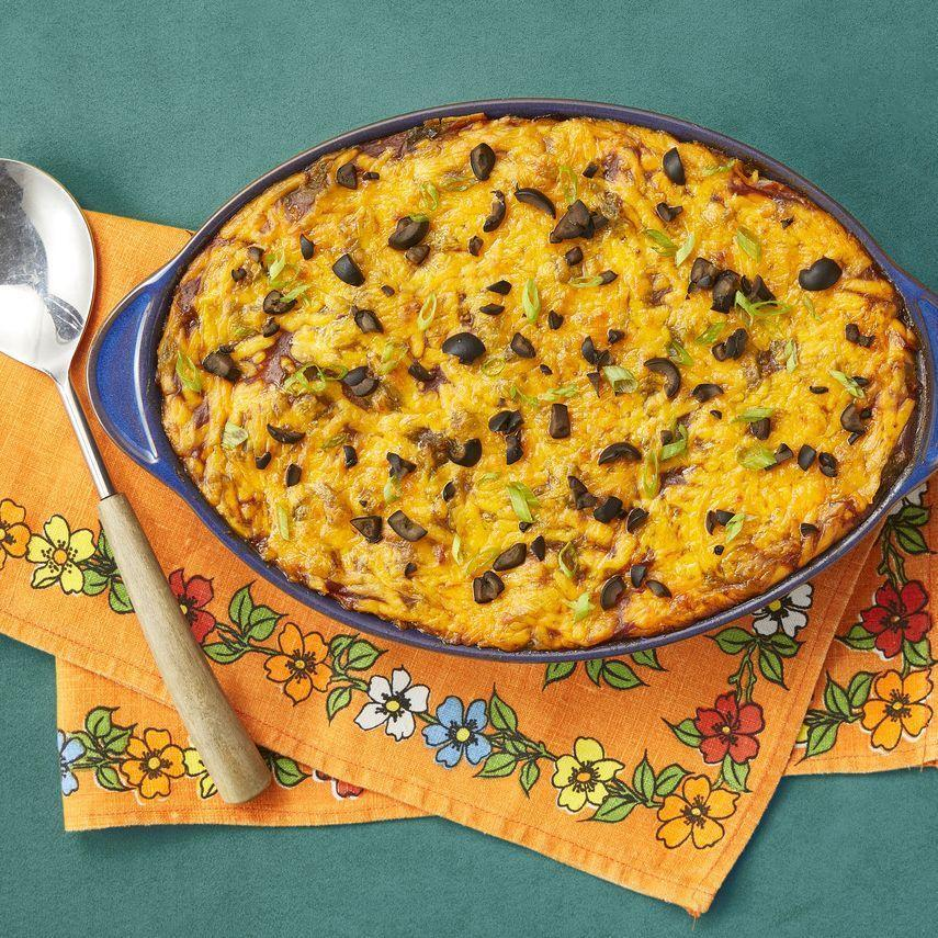 """<p>You can never go wrong with an enchilada casserole. This one is filled with beef, green chiles, and melted cheddar cheese.</p><p><strong><a href=""""https://www.thepioneerwoman.com/food-cooking/recipes/a34416873/beef-enchilada-casserole/"""" rel=""""nofollow noopener"""" target=""""_blank"""" data-ylk=""""slk:Get the recipe."""" class=""""link rapid-noclick-resp"""">Get the recipe.</a></strong> </p>"""