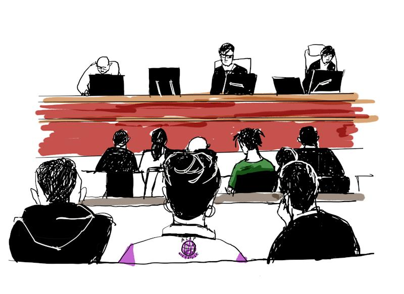 This court sketch created on July 30, 2019 shows US rapper A$AP Rocky (middle row, in green shirt) during his trial at the district court in Stockholm. - The 30-year-old artist, whose real name is Rakim Mayers, was arrested on July 3, 2019 along with three other people, following a street brawl in Stockholm on June 30. The musician's detention has stirred diplomatic tensions and fan outrage. (Photo by Anna HARVARD / TT NEWS AGENCY / AFP) / Sweden OUT (Photo credit should read ANNA HARVARD/AFP/Getty Images)