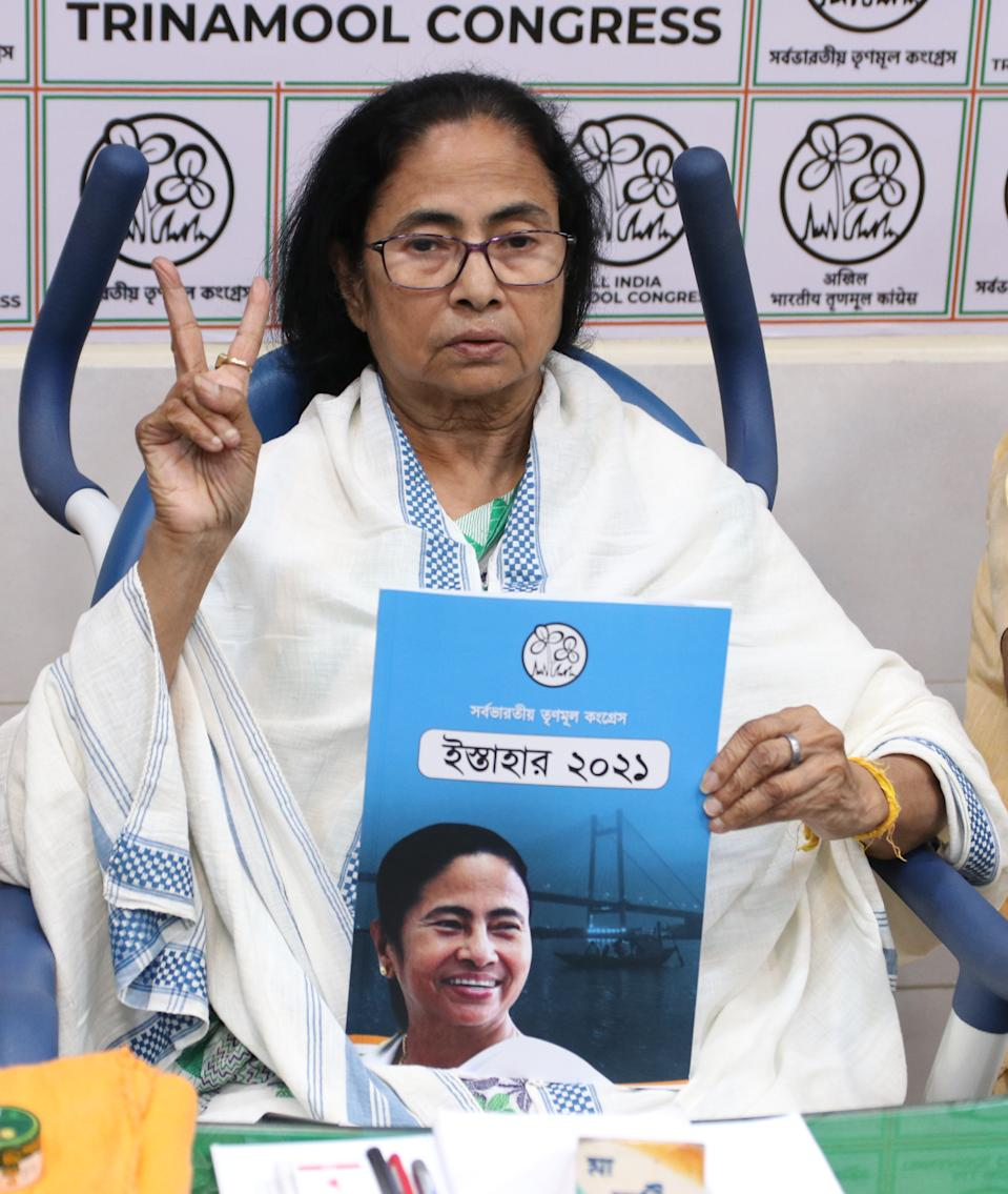 Chief Minister of West Bengal and Chief of Trinamool congress party Mamata Banerjee sitting on wheelchair and release Trinamool Congress Party Manifesto ahead West Bengal Assembly polls in Kolkata, India on March 17,2021. (Photo by Debajyoti Chakraborty/NurPhoto via Getty Images)