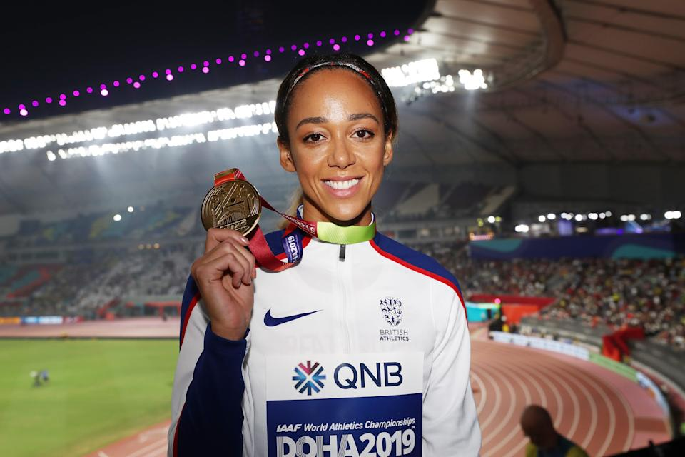 Gold medallist Katarina Johnson-Thompson of Great Britain in Doha (Getty Images)