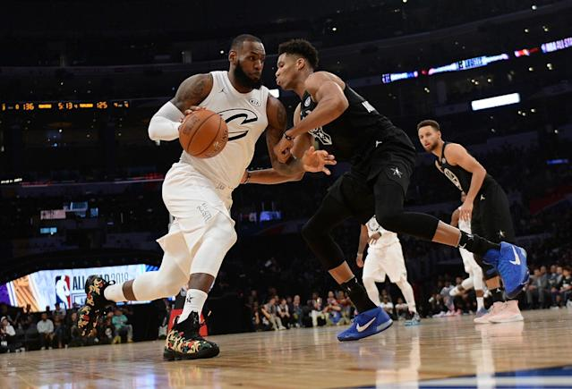 LeBron James and Giannis Antetokounmpo will square off once again in the All-Star game. (Getty)
