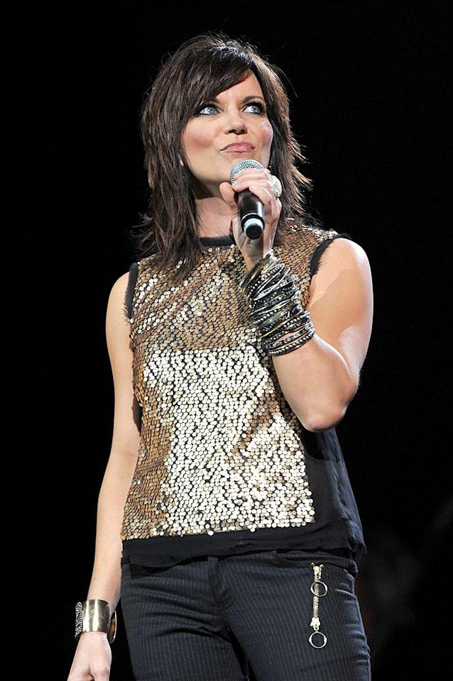 """""""This One's for the Girls"""" singer Martina McBride sported a shaggy 'do and metallic accessories galore onstage. Fred Breedon/Nashville Rising/<a href=""""http://www.gettyimages.com/"""" target=""""new"""">GettyImages.com</a> - June 22, 2010"""
