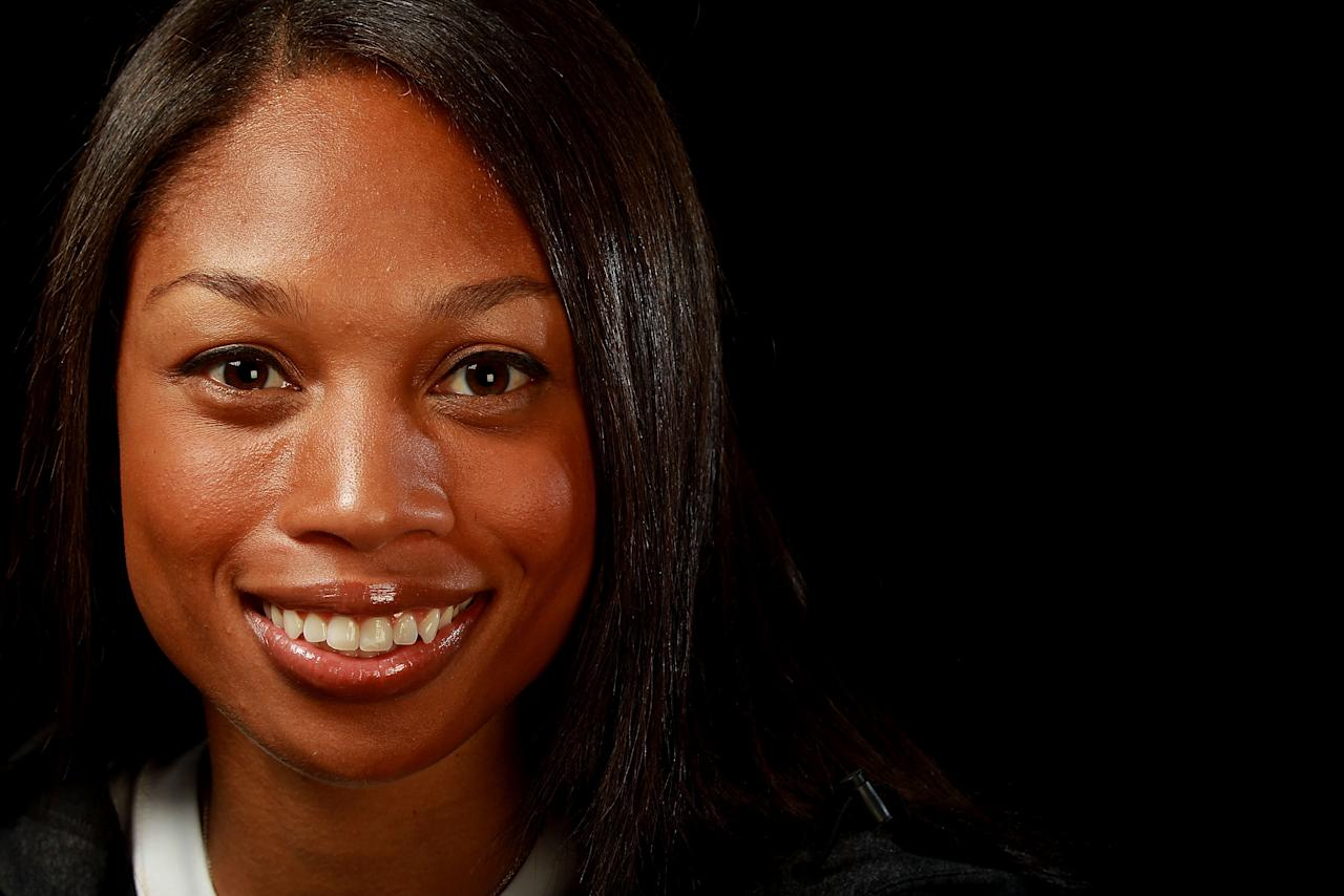 DALLAS, TX - MAY 13:  Track athlete, Allyson Felix poses for a portrait during the 2012 Team USA Media Summit on May 13, 2012 in Dallas, Texas.  (Photo by Ronald Martinez/Getty Images)