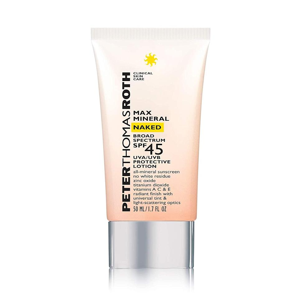 """Kim calls out Peter Thomas Roth's Max Mineral Sunscreen Naked SPF 45, which is <a href=""""https://www.allure.com/gallery/best-tinted-sunscreen-for-face?mbid=synd_yahoo_rss"""" rel=""""nofollow noopener"""" target=""""_blank"""" data-ylk=""""slk:slightly tinted"""" class=""""link rapid-noclick-resp"""">slightly tinted</a> for a light dose of coverage and """"dries relatively quickly and doesn't leave a sticky residue,"""" which he says is a bonus for <a href=""""https://www.allure.com/gallery/best-acne-korean-skin-care-products?mbid=synd_yahoo_rss"""" rel=""""nofollow noopener"""" target=""""_blank"""" data-ylk=""""slk:acne-prone skin"""" class=""""link rapid-noclick-resp"""">acne-prone skin</a> like his own. It's even infused with diamond powder for a true """"lit-from-within"""" glow and, according to Kim, a """"classic [but quick-dissipating] sunscreen smell that reminds you of summer or the beach"""" — all of which we can definitely appreciate."""