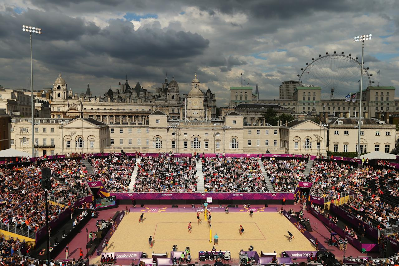 LONDON, ENGLAND - JULY 28: A general view during the Men's Beach Volleyball Preliminary Round on Day 1 of the London 2012 Olympic Games at Horse Guards Parade on July 28, 2012 in London, England.  (Photo by Ryan Pierse/Getty Images)