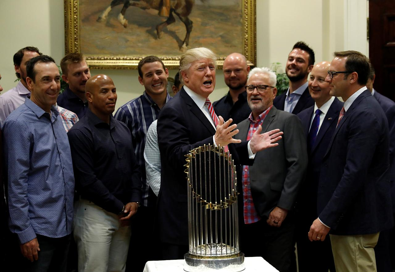 U.S. President Donald Trump honors members of baseball's 2016 World Series champions the Chicago Cubs at the White House in Washington, U.S., June 28, 2017.  REUTERS/Kevin Lamarque