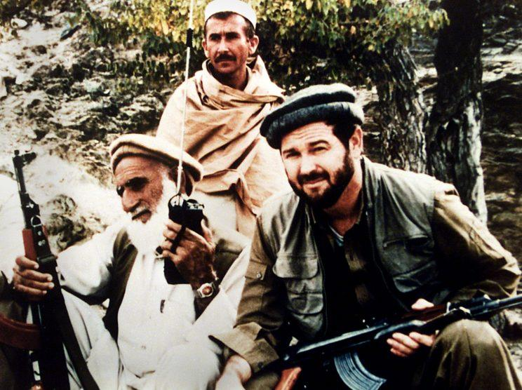 Rohrabacher, right, with two mujahideen during his 1988 visit to Afghanistan