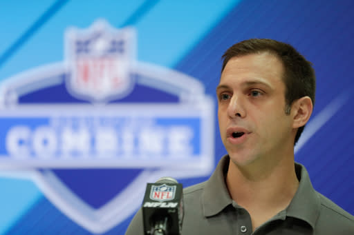 FILE - In this March 1, 2018, file photo, Kansas City Chiefs general manager Brett Veach speaks during a press conference at the NFL football scouting combine in Indianapolis. The young front office boss, who took over when John Dorsey was let go last summer, heads into the three-day draft Thursday without a first-round pick. But Veach has one in the second round and two more in the third, giving him ample opportunity to shore up a leaky defense on an otherwise deep roster. (AP Photo/Michael Conroy, File)