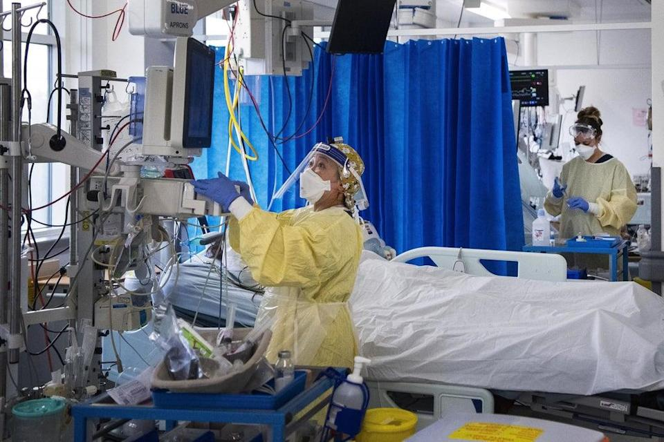Nurses caring for Covid-19 patients in the ICU in St George's Hospital in Tooting (PA)