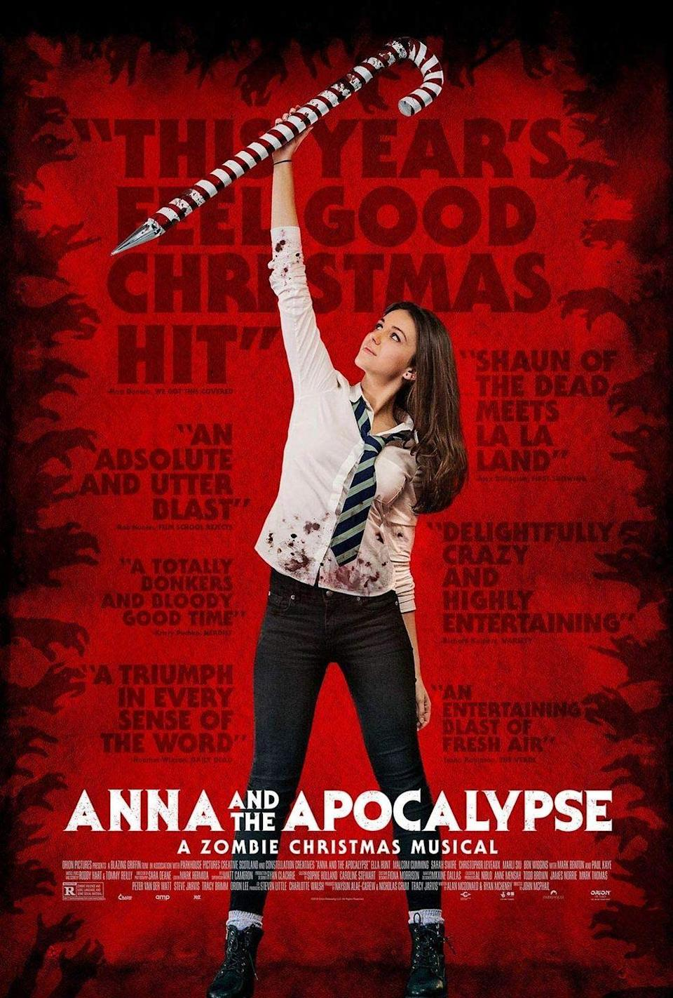 "<p>The music in <em>Anna and the Apocalypse, </em>written by Scottish singer-songwriters Roddy Hart and Tommy Reilly, skews pop. What sets the 2017 musical apart is its plot and Frankenstein-level mix of genres. It's a small-town British coming of age movie wrapped inside a zombie film that just so happens to be a musical. And if that makes you expect ho-hum horror, just know that <em>Anna </em>is dark and surprisingly subversive in its twists and turns.</p><p><a class=""link rapid-noclick-resp"" href=""https://www.amazon.com/Anna-Apocalypse-Ella-Hunt/dp/B07KWJPDXK?tag=syn-yahoo-20&ascsubtag=%5Bartid%7C10063.g.34344525%5Bsrc%7Cyahoo-us"" rel=""nofollow noopener"" target=""_blank"" data-ylk=""slk:WATCH NOW"">WATCH NOW</a></p>"
