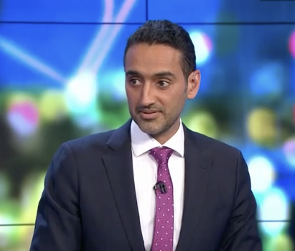 The Project host Waleed Aly became enraged during a discussion on mandating Covid-19 vaccines. Source: Channel 10/ The Project