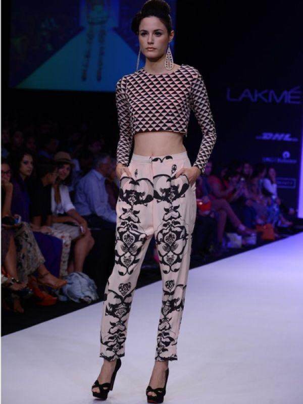 <p><strong>Payal Singhal</strong>: It was love at first sight when we saw this printed crop top paired with printed pants on the runway.</p>