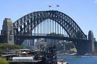 The Australian and Aboriginal flags flew on Sydney Harbour Bridge