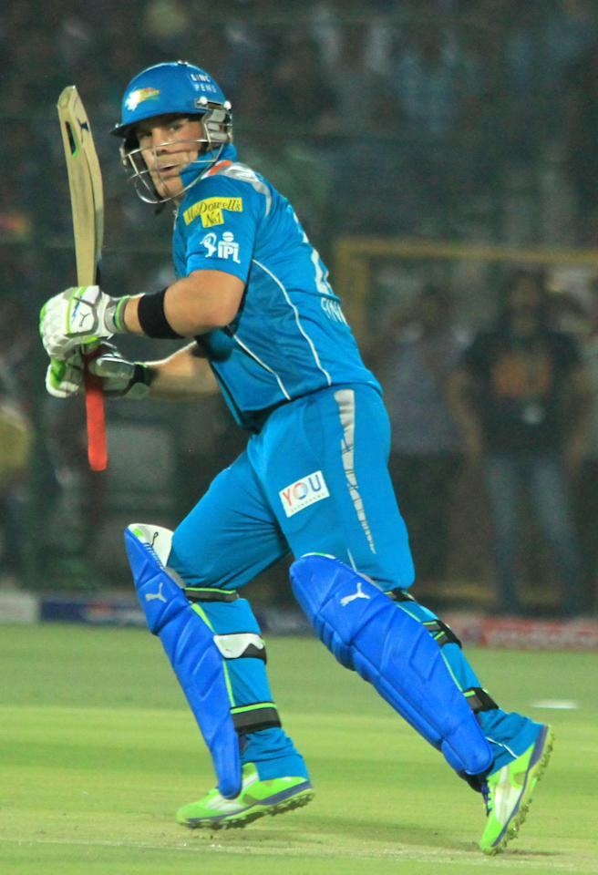 PWI captain Aaron Finch in action during the match between Pune Warriors India and Rajasthan Royals at Sawai Mansingh Stadium, Jaipur at May 5, 2013. (Photo: IANS)