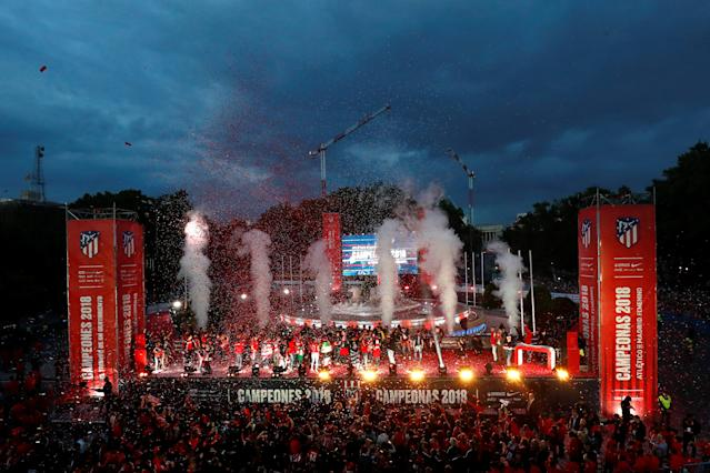 Soccer Football - Atletico Madrid Celebrate Winning The Europa League - Neptuno Square, Madrid, Spain - May 18, 2018 General view during the celebrations REUTERS/Juan Medina