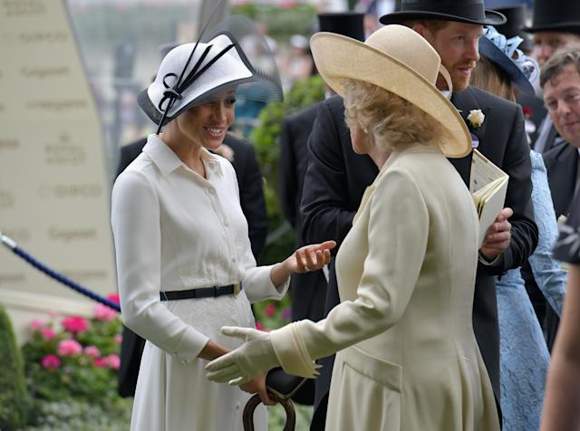 Meghan and Camilla catch up at Royal Ascot. (Getty Images)