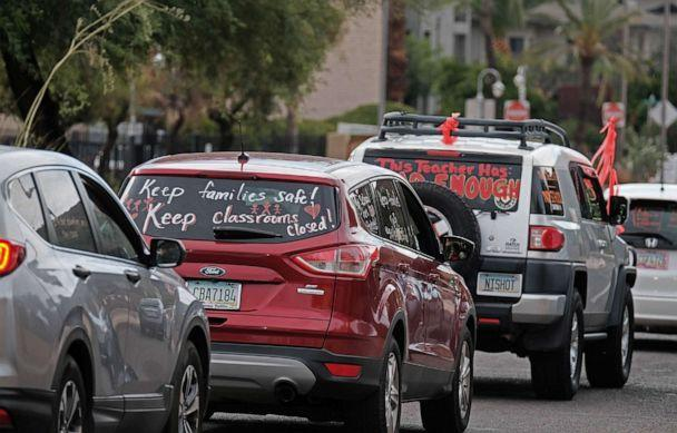 PHOTO: Educators, parents and community members take place in a Motor March demanding a safe opening of schools for in-person learning on July 16, 2020, in Tucson, Ariz. (Christopher Brown/ZUMA Wire)